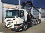 Abrollcontainer tip Scania P 320 Triple Hiab 16 ton/meter laadkraan in ANDELST