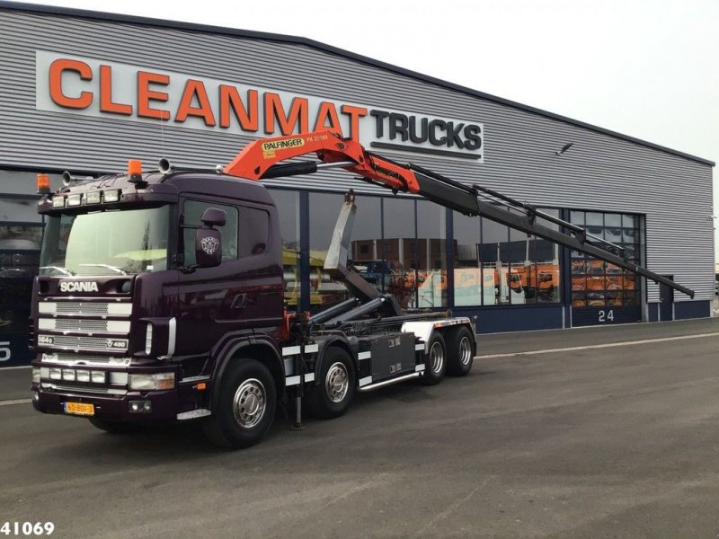 Abrollcontainer типа Scania R 164.480 V8 8x4 Palfinger 23 ton/meter laadkraan, Gebrauchtmaschine в ANDELST (Фотография 1)