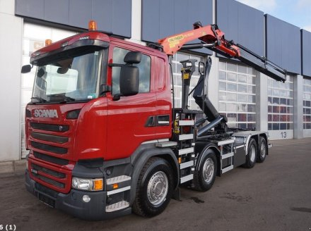 Scania R 410 Euro 6 Palfinger 16 ton/meter laadkraan Hook lift trailer body