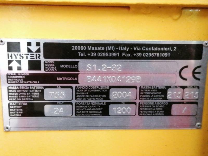 Elektrostapler a típus Hyster S1,2, Gebrauchtmaschine ekkor: senlis (Kép 8)