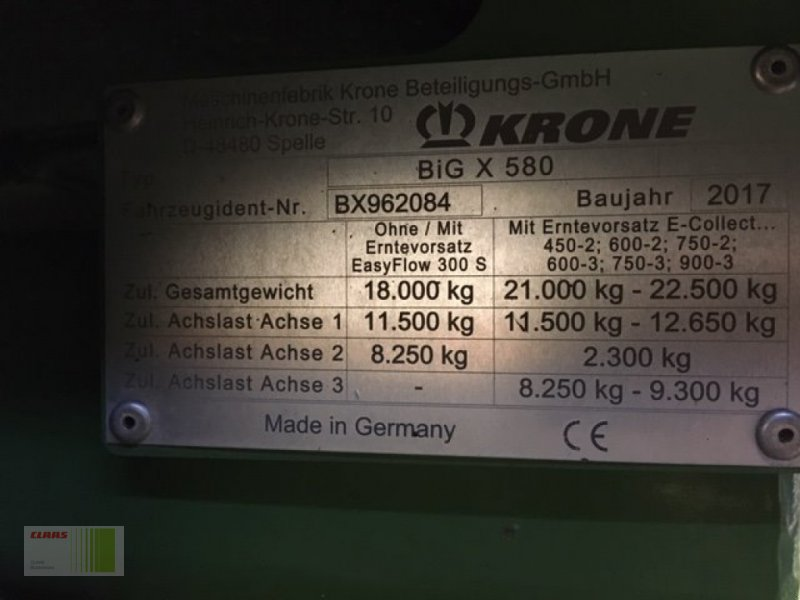 Feldhäcksler des Typs Krone BIG X 580, Gebrauchtmaschine in Bordesholm (Bild 17)