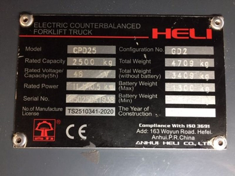 Frontstapler typu Heli CPD25-GD2  3-master side-shift, Gebrauchtmaschine w Roosendaal (Zdjęcie 8)