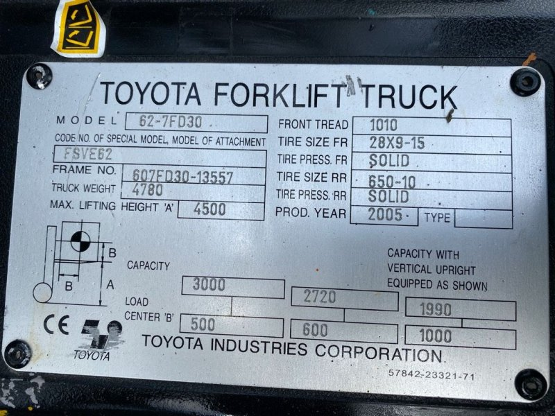 Frontstapler a típus Toyota 62-7 FD 30, Gebrauchtmaschine ekkor: WIJCHEN (Kép 6)