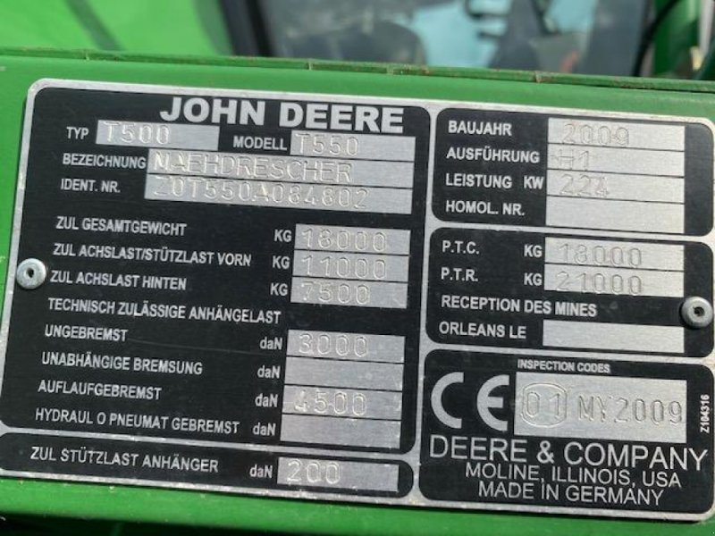 Mähdrescher des Typs John Deere T550, Gebrauchtmaschine in Wargnies Le Grand (Bild 9)