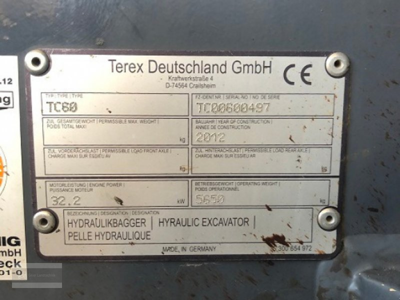Minibagger des Typs Terex TC 60 erst 1600h!!!, Gebrauchtmaschine in Eging am See (Bild 12)