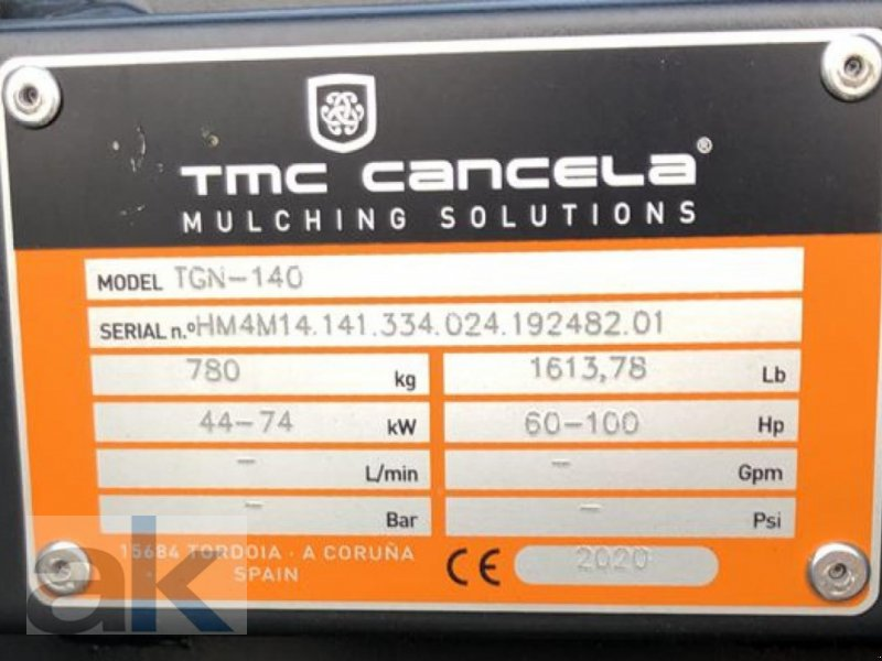 Mulcher типа Sonstige TMC TGN-140, Neumaschine в Mörstadt (Фотография 2)