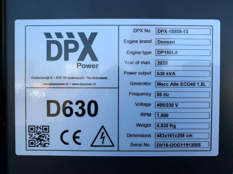 Notstromaggregat a típus Doosan engine DP180LA - 630 kVA Generator - DPX-15559, Gebrauchtmaschine ekkor: Oudenbosch (Kép 4)