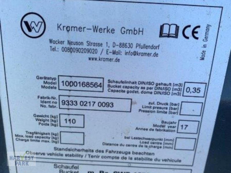 Radlader typu Kramer Radladerschaufel, Gebrauchtmaschine v Emsbüren (Obrázok 3)