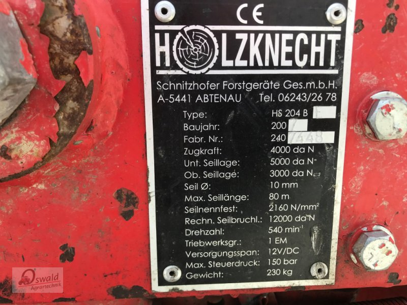 Seilwinde типа Holzknecht HS 204 B, Gebrauchtmaschine в Iggensbach (Фотография 11)