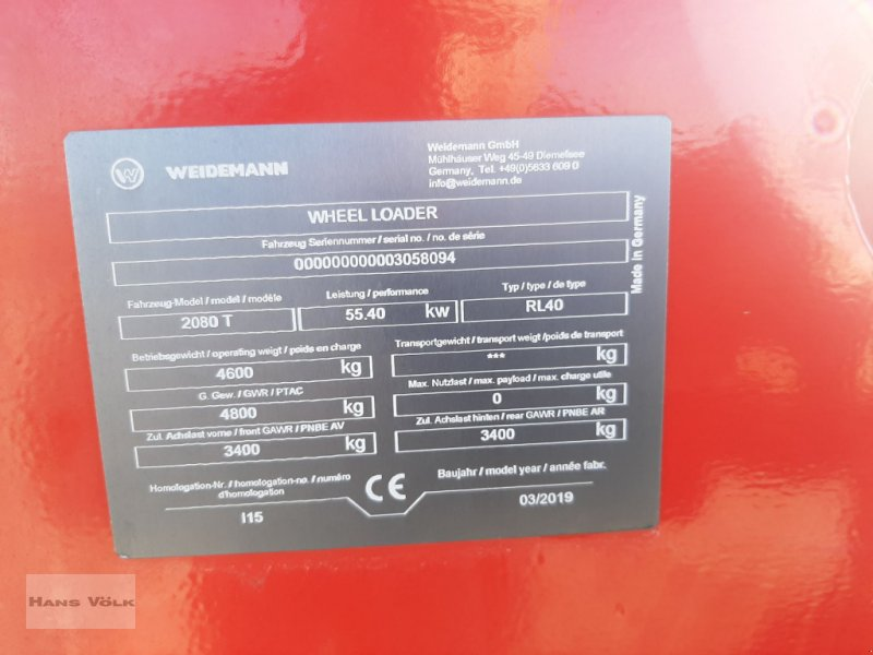 Teleradlader des Typs Weidemann  2080T, Gebrauchtmaschine in Antdorf (Bild 16)