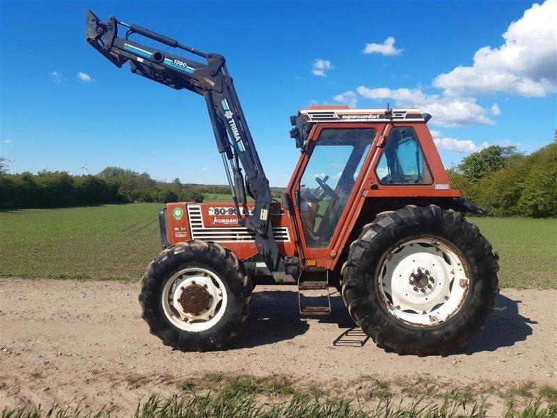 Traktor des Typs Fiat 80-90 DT med Trima frontlæsser Super Comfort Hi Lo og vendegear, Gebrauchtmaschine in Skive (Bild 1)